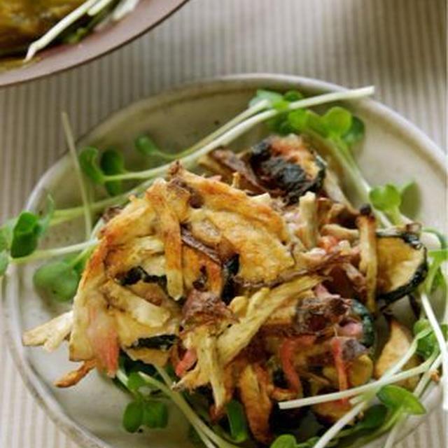 干し野菜と紅生姜のかき揚げ