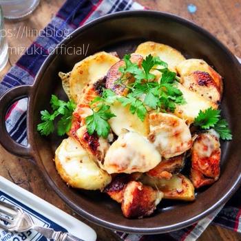 ♡フライパンde超簡単♡鮭とポテトのチーズ焼き♡【#簡単レシピ#魚#連載】