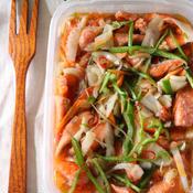 新玉ねぎと鮭のイタリアン風南蛮漬け