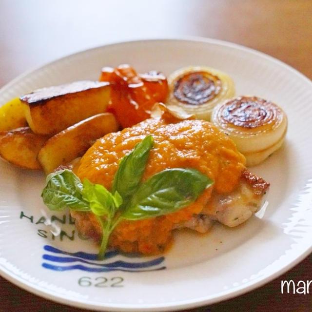[レシピ]フレッシュトマトソースがけ♪ガーリックチキンステーキ