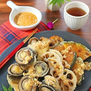 さんまロールと秋野菜の竜田揚げ♪辣油ネギソース!スパイスブログ連載