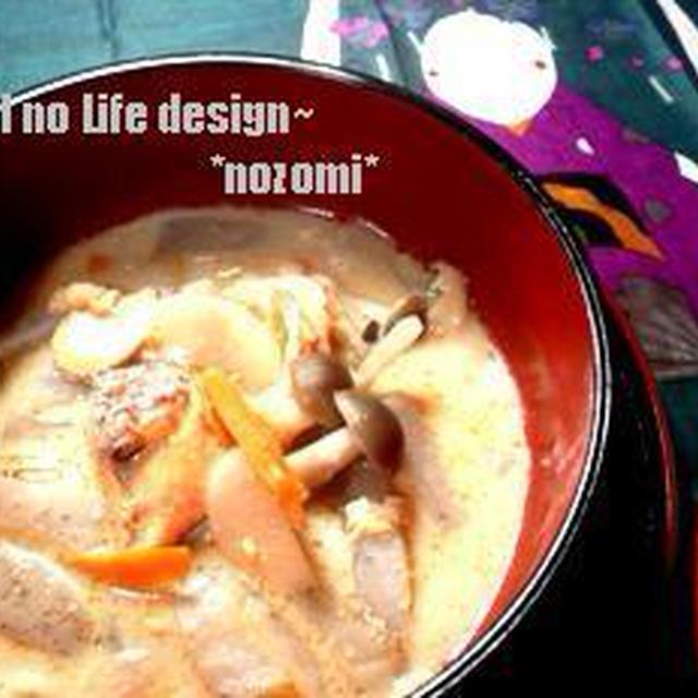 *【日経レシピ】ほこほこキレイ♪鮭と生芋こんにゃくのかす汁*