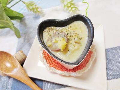 温ったまる☆粉なしのさつま芋と白葱のスープ
