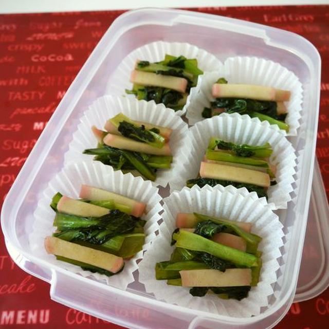 冷凍保存☆小松菜と蒲鉾のオイスター炒め♪