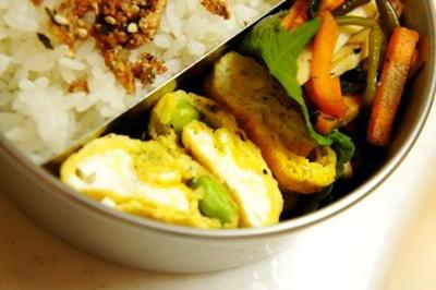 世紀末弁当救世主伝説、黒胡椒がぴりっときいた枝豆卵焼き等、枝豆弁当祭り