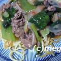 我が家の定番料理 小松菜と牛肉の揚げ焼きそば&たことポテトのガリシア風