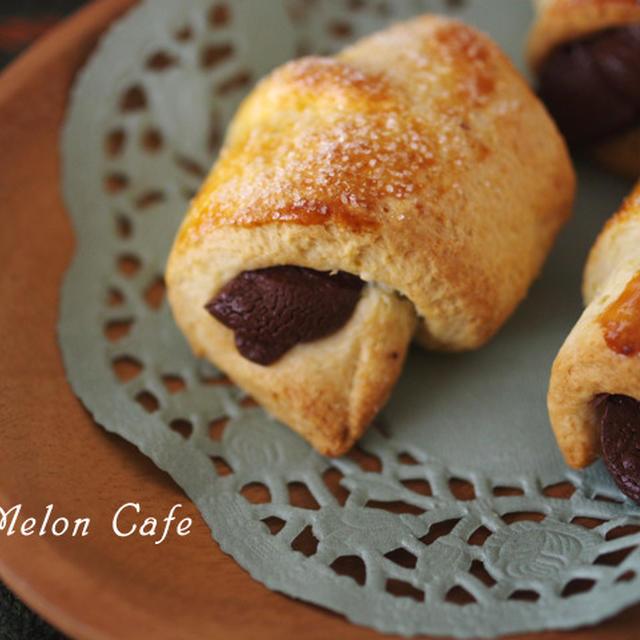 ホットケーキミックスでつくる、簡単チョコっとクロワッサン☆超簡単チョコパン第2弾♪