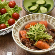 福岡県産 トマトでさっぱりあっさりトマト牛丼|圧力鍋で柔らかジューシー