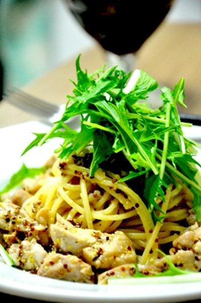 鶏肉と水菜のマスタードパスタ