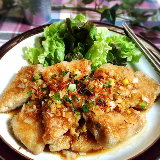 マジうまレシピ☆油淋鶏をマグロで作ると油淋魚?