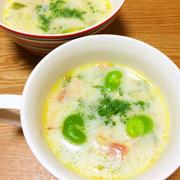 そら豆とキャベツの豆乳スープ【レシピ】