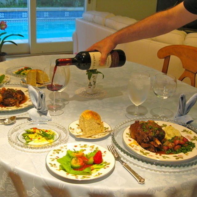 イースターディナー—ラム・シャンクスの煮込みとサーモンとキャベツの前菜「なんじゃこりゃあ!」風