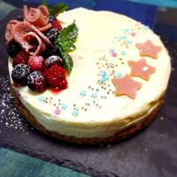 スライスチョコレートで薔薇のチーズケーキ