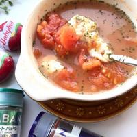 朝のスープはレンジで楽々♪トマトとモッツァレラの白だしスープ