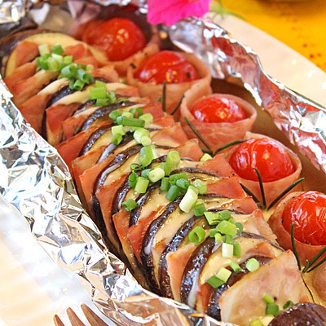 ホットペッパー9月号☆秋茄子ベーコン&ミニトマトベーコンのBBQホイル焼き