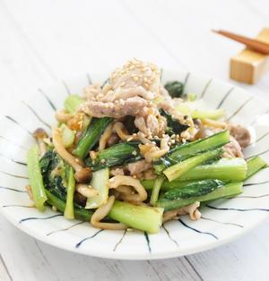 ボーソー米油!部豚こま肉と小松菜の梅味噌炒め