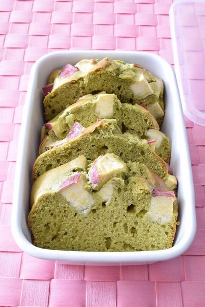 サツマイモ入り抹茶ケーキ 作り置きレシピ HMで簡単&甘さ控えめ♪