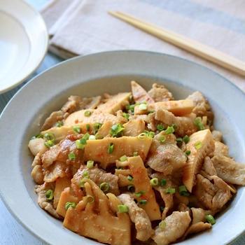 今日のレシピ*『たけのこと豚バラのピリ辛味噌炒め』