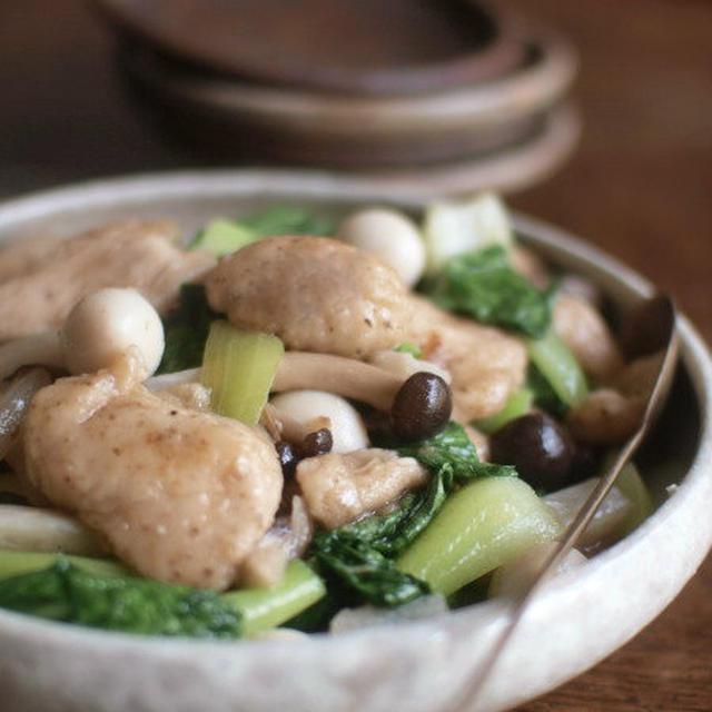 鶏胸肉と茸の塩炒め煮。
