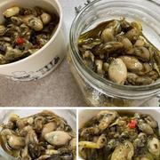 牡蠣のオイル漬けを作ってわさび菜と牡蠣のオイル漬けのサラダ♪