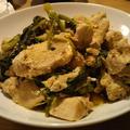 鶏胸肉と春菊の炒め物