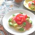 さっぱり☆フレッシュトマトとアボカドと生ハムのカッペリーニ