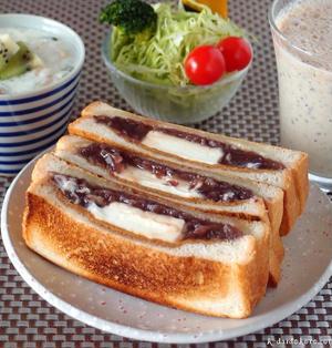 餡子とクリームチーズのホットサンド