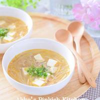 豚ひき肉・もやし・豆腐の辛味スープ 我が家の定番スープなんです~♪
