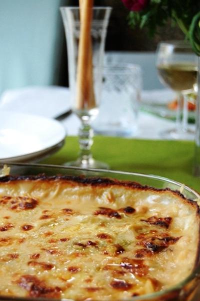 白菜と小海老の味噌チーズグラタン