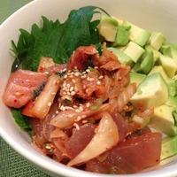 「マグロの香味野菜和え丼」~まぐろのトッパプ。