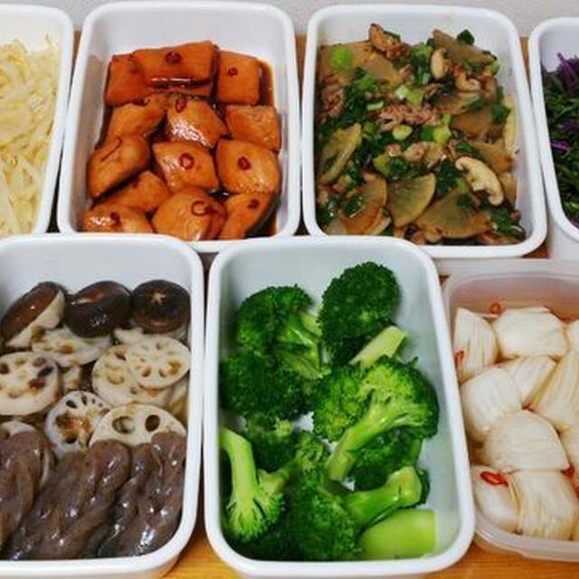 2015/11/29常備菜(大根と豚肉の炒め、鮭の南蛮煮、など)