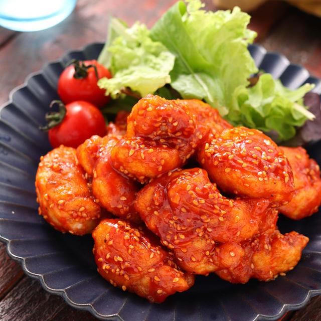 むね肉de韓国風甘辛チキン(ヤンニョムチキン)【#作り置き #冷凍保存 #お弁当 #揚げない #油は大さじ3 #主菜】