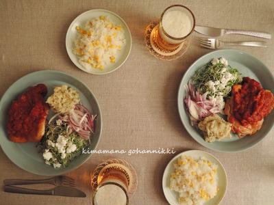ガーリックとトマトソースのチキンソテー。