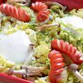 <春キャベツとウインナー&卵のグリル焼き>
