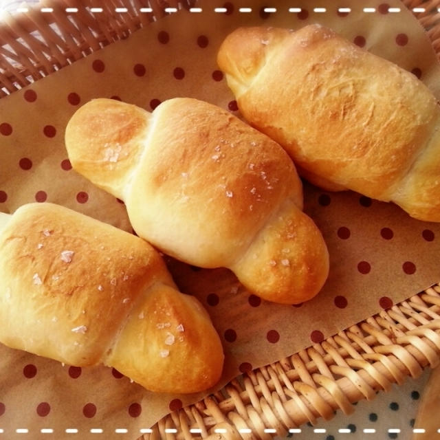 今日は一人占め~( *´艸`)大好き塩パン♡自分のためにだって焼いちゃいま~す(* ̄∇ ̄*)
