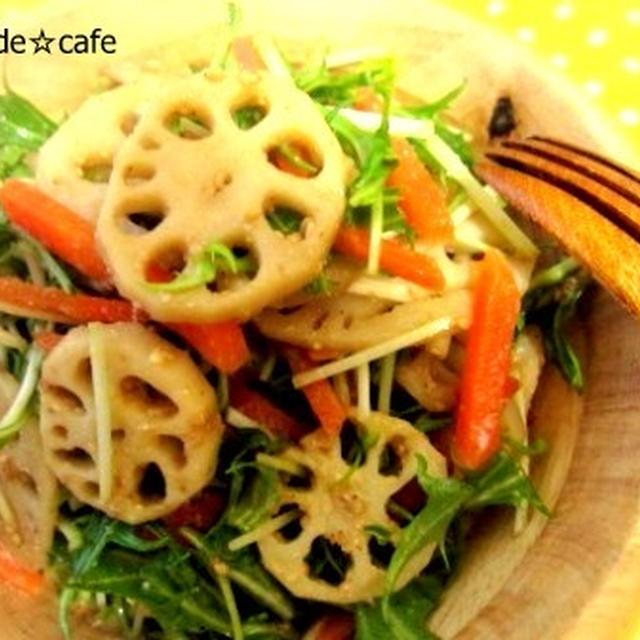 ひなあられと簡単☆水菜とレンコンの胡麻サラダ