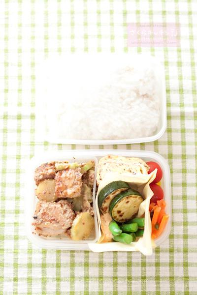 お弁当『鶏とブロッコリーの芯のマスタードバター醤油和え』