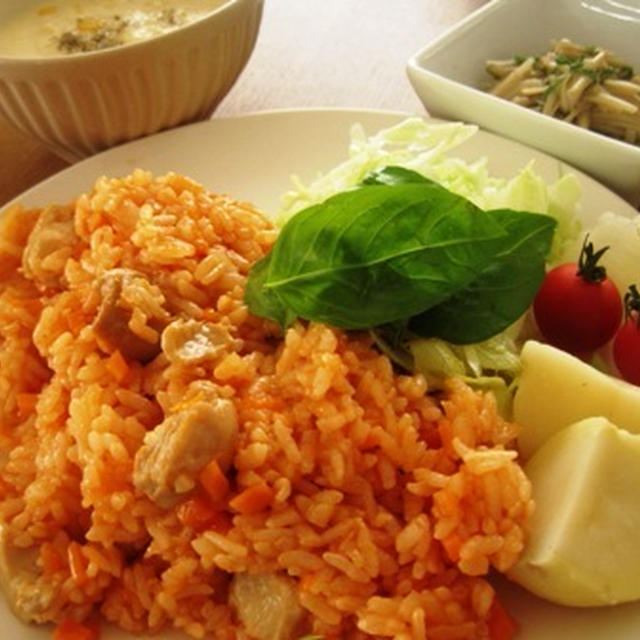 チキンライス・豆腐とコーンのポタージュスープ