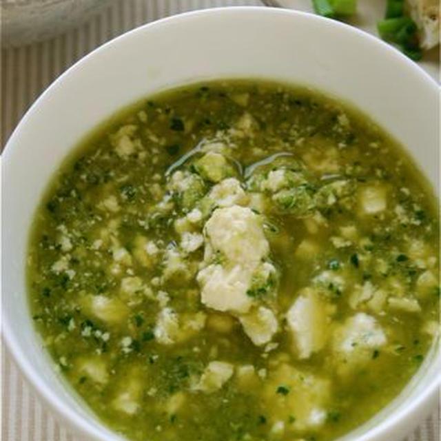 おろしきゅうりと崩し豆腐のあっさりさっぱりわさびのスープ