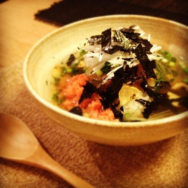 進化系お茶漬け☆ヒラメとガーリックのスープ飯