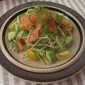 スモークサーモンと水菜のサラスパ