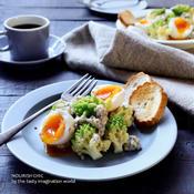ロマネスコと茹で卵のハムタルタル温サラダ