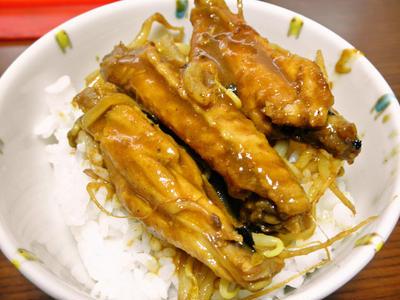 手羽とモヤシの無水カレー丼(プチ丼)
