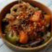 根菜類と豚肉のレンジで簡単スパイシー煮込み