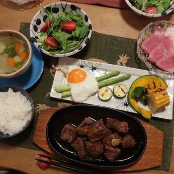 サイコロステーキ&グリル野菜の晩ご飯と 月例ゴルフラウンド♪