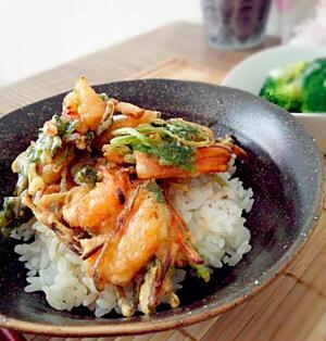 【レシピ】フライパンで簡単☆海老のかき揚げ丼