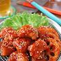 韓国屋台飯♪揚げずに簡単甘辛チキンとレンコンのタッカンジョン