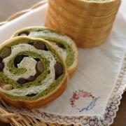 抹茶と甘納豆のぐるぐるラウンドパン