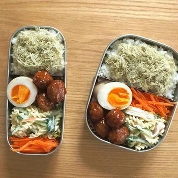 味玉と肉団子弁当、鶏チリ定食