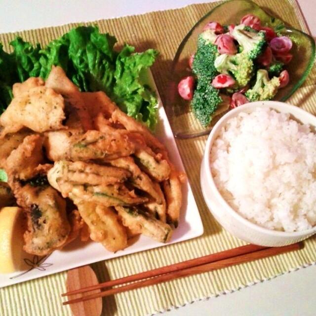 晩ごはん:白身魚のフリッター風とブロッコリーの辛子マヨぽん和え…と更新停滞のお知らせ。